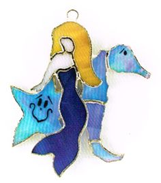 Mermaid and friends stained glass ornament.  Use as a sun catcher, display on an ornament stand, use with Switchables rotating night light as a nightlight cover, and also can be used as a plant/greenery, or floral decoration with a Switchables plant pal stake.