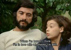 Cuando estoy aburrida, creo estar enamorada con quien sea que este.Claire's Knee (1970) - Eric Rohmer