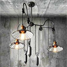 Mirror Shade with the Pully for Edison Bulb Vintage Industrial Rusticity Pendant Lamp