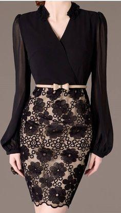 0699e3d8 Puff Long Sleeve Dress Elegant Autumn Dress Feminine Black Chiffon Dresses  Lace Decored Sexy V Neck Office Lady Sweet Girl XS