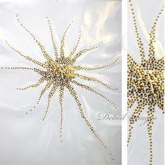 Rhinestone Iron on Transfer Hot fix Motif crystal Fashion Design Space / Gold 94