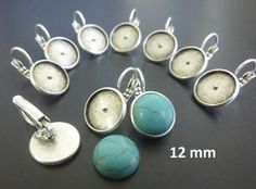 5 pairs 12 mm Round Bezel earring settings for all kind of