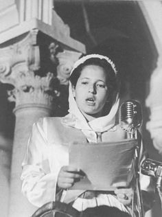 Royal Princess Lalla Aisha giving a speech in Tangiers, Morocco, April 11th 1947.