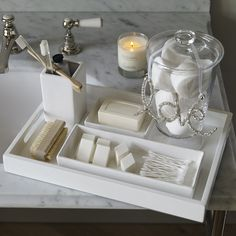 Newcombe Ceramic Rectangular Container - White The White Company Bathroom Staging, Bathroom Counter Decor, Bathroom Tray, Bathroom Organisation, Bathroom Interior Design, Small Bathroom, Bathrooms, The White Company, Bathroom Accesories
