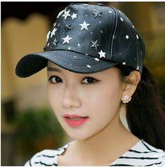 Fashion star baseball cap for women black adjustable caps spring