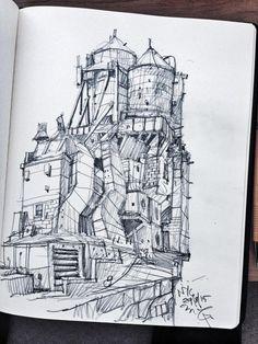 Ian Mcque Vents/Air Con Units/Water Towers etc Illustration Sketches, Art Sketches, Art Drawings, Environment Sketch, Environment Design, Water Tower, Urban Sketching, Environmental Art, Art Studies
