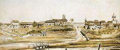 A Várzea do Carmo em 1821, aquarela de Arnaud Julien Pallière, 1821.