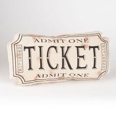 Black Movie Ticket Accent Pillow | Kirklands
