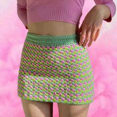 Crochet Skirt Outfit, Crochet Skirts, Crochet Clothes, Diy Clothes, Knit Crochet, Crochet Skirt Pattern, Crotchet, Diy Crochet Projects, Crochet Crafts