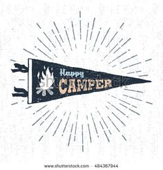 "Hand drawn adventure pennant flag vector illustration and ""Happy camper"" inspirational lettering."