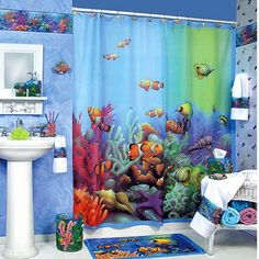 Finding Nemo Bathroom Shower Curtain | Decoración de baños para niños