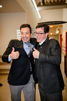 Stephen Colbert and Jimmy Fallon at the Montclair Film Festival Presents: Jimmy Fallon and Stephen Colbert in conversation at New Jersey Performing Arts Center on November 24, 2013 in Newark, New Jersey.