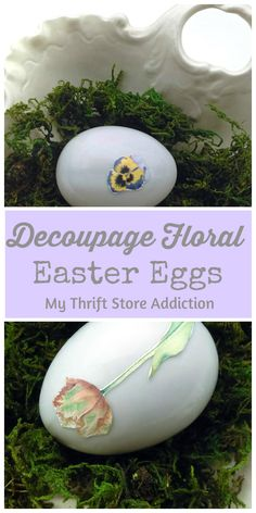 How to upcycle thrift store Easter eggs with pretty floral design decoupage-check out the tutorial!