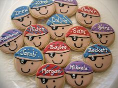 Pirate Kids Personalized Birthday Cookies by charmingtreats4you