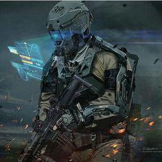 Futuristic Armour, Futuristic Art, Futuristic Technology, Rpg Cyberpunk, Cyberpunk Character, Armadura Sci Fi, Guerra Anime, Future Weapons, Sci Fi Armor