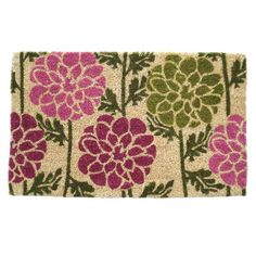A lovely way to refresh your doorstep, this handcrafted doormat showcases a dahlia motif that pairs well with blossoming blooms.     Pr...