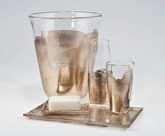 ANN SACKS Davlin vase, tumbler, waste basket, soap dish and tray in rose gold
