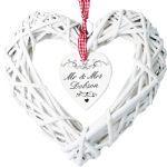 Personalised White Wicker Hanging Heart