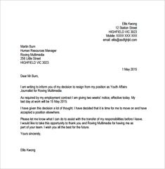 Two Weeks Notice   Job    Resignation Letter Letter