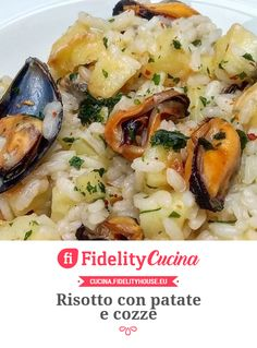 Risotto with potatoes and mussels-Risotto con patate e cozze Risotto with potatoes and mussels - Salmon Recipes, Pork Recipes, Chicken Recipes, Healthy Recipes, Italian Recipes, Mexican Food Recipes, Ethnic Recipes, Beef Skillet Recipe, Skillet Recipes