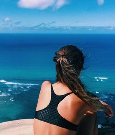 Beach life ocean views brunette black bikini acacia swimwear waves summer blue skies sunshine vaca vacation