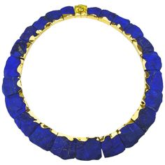 Nicholas Wylde English Lapis Lazuli Gold Collier Necklace   From a unique collection of vintage link necklaces at https://www.1stdibs.com/jewelry/necklaces/link-necklaces/