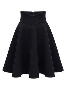 Black High Waist Midi Woolen Skater Skirt | Choies