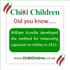 #FridayFact: William Scoville developed the methos for measuring capsicum in chillies in 1912.  www.ChilliChildren.co.uk