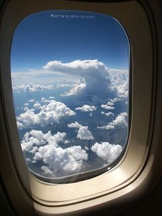 """He looked through the tiny rectangular window beside him, to the immensity of the blue sky dotted with the whiter clouds he had ever seen. Ana would love that sight. Airplane Window, Airplane View, Airplane Mode, Window View, Window Seats, Ups And Downs, Places To Travel, Image Search, Beautiful Places"