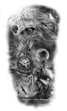 50 Trendy Eye Tattoo Back Awesome Half Sleeve Tattoos Designs, Full Sleeve Tattoos, Tattoo Designs Men, Clock Tattoo Sleeve, Nautical Tattoo Sleeve, Clock Tattoo Design, Tattoo Design Drawings, Mädchen Tattoo, Back Tattoo