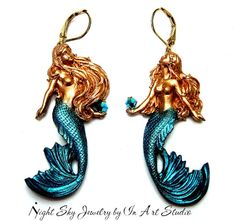 ☮ American Hippie Bohemian Style ~ Boho Jewelry .. Mermaid Earrings Gold and Blue - InArtStudio