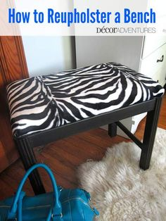 How to Reupholster a Bench - Redhead Can Decorate