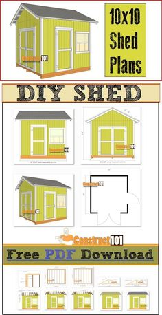 Shed plans for a 10x10 garden shed. Includes free PDF download, step-by-step illustrated instructions, cutting list, and shopping list.