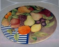Gien 12 inch cake plate. Price has been marked down to move!!    The pattern is La Ronde des Fruits.    Gien China is made of fine faience earthenware....