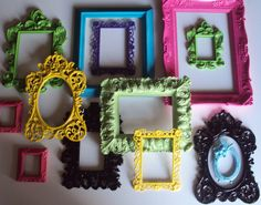 13 Ornate Open Picture Frames Garden Party Lime Green Fuschia Purple Yellow Aqua Wall Gallery Wedding Home Decor FUN Colorful Unique Variety