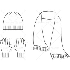 Knitted Cap, Scarf and Gloves Fashion Flat Template - Knit Cap Fashion Design Jobs, Fashion Design Template, Fashion Templates, Fashion Designers, Flat Drawings, Flat Sketches, Technical Drawings, Gloves Fashion, Fashion Flats