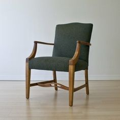 Library Chair In Green Wool Upholstery by Dominique Provost