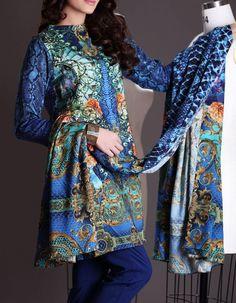 Buy Navy Blue Printed Viscose Linen Dress by Nishat 2015.
