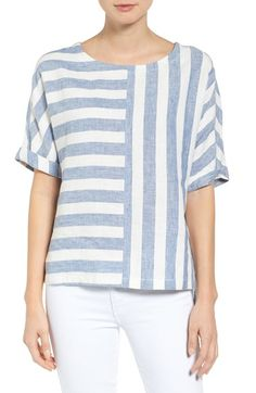 !!!! Caslon® V-Back Linen Top (Regular & Petite) available at #Nordstrom