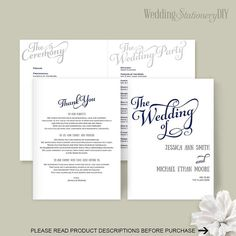 Wedding programs Wedding program template by WeddingstationeryDIY Diy Wedding Templates, Diy Wedding Programs, Microsoft Word 2010, Program Template, Wedding Invitation Suite, You Changed, Programming, Color Change, Color Text