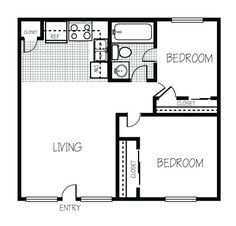 Bedroom floor plans, Small homes and Living spaces 2 Bedroom Floor Plans, Small House Floor Plans, Cabin Floor Plans, Apartment Floor Plans, Casa Loft, Cottage Plan, Cottage House, Bedroom Flooring, Construction