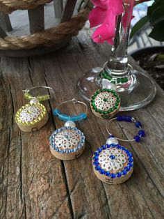 Cork Wine Charms Blues and Greens by Corksandswine on Etsy