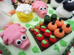 Hay Day game cake, with farm animal and garden patch fondant figurines