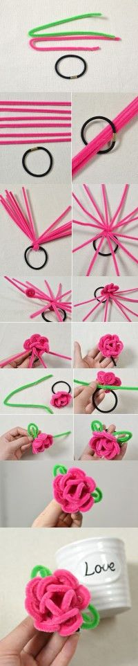 Tutorial on How to Make a Flower Hair Band with Chenille Stems from LC.Pandahall.com    #pandahall