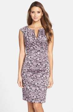 Adrianna Papell Metallic Floral Jacquard Sheath Dress (Regular & Petite) | Nordstrom