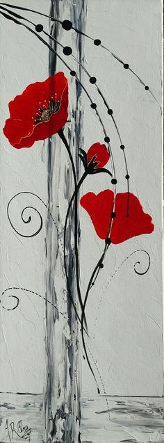 Tableau moderne coquelicots en rouge et noir. Peinture acrylique sur toile châssis plat. 30x100. Peint à la main par Raffin Christine. Artiste peintre décoratrice. Modèle unique. Page Facebook : L'étoile de Chris