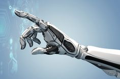 A robotic mechanical arm looks as like a human hand. Cybernetic organism with Artificial Intelligence working with virtual Infographic HUD. Bill Gates, Mechanical Arm, Fourth Industrial Revolution, Futuristic Design, Detroit Become Human, Artificial Intelligence, Menorca, Dentistry, Blockchain