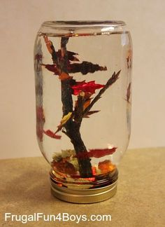"""Love snow globes? How about a falling leaves globe? Try out this Fall Leaf """"Snow Globes"""" project via Frugal Fun 4 Boys"""