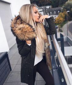 Damen Khaki langer Echtfell Parka Edelparka Winterjacke Winter Jacke mit Pelz Outdoor Echtpelz Fell Mantel