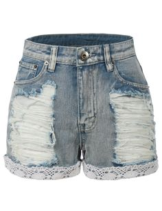 LE3NO Womens High Waisted Distressed Denim Jean Shorts with Lace Trim